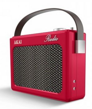 AKAI Red DAB Retro Radio with faux leather finish A60016R