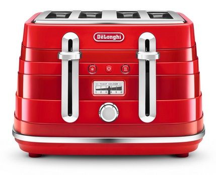 DELONGHI Avvolta 4 Slice Toaster Red CTA4003.R.