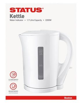 STATUS Boston 1.7 litre Jug Kettle White with 2 Year Guarantee